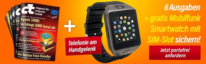 c´t - 6 Ausgaben + Mobilfunk Smartwatch mit SIM-Slot (Kündigung nicht vergessen)