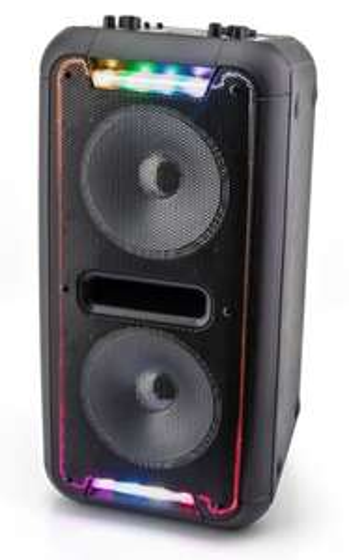 Caliber HPA502BTL Bluetooth Lautsprecher mit integriertem Akku (60W, Karaoke-Funktion, eingebauter Akku, USB & MicroSD Anschluss, AUX, LEDs)