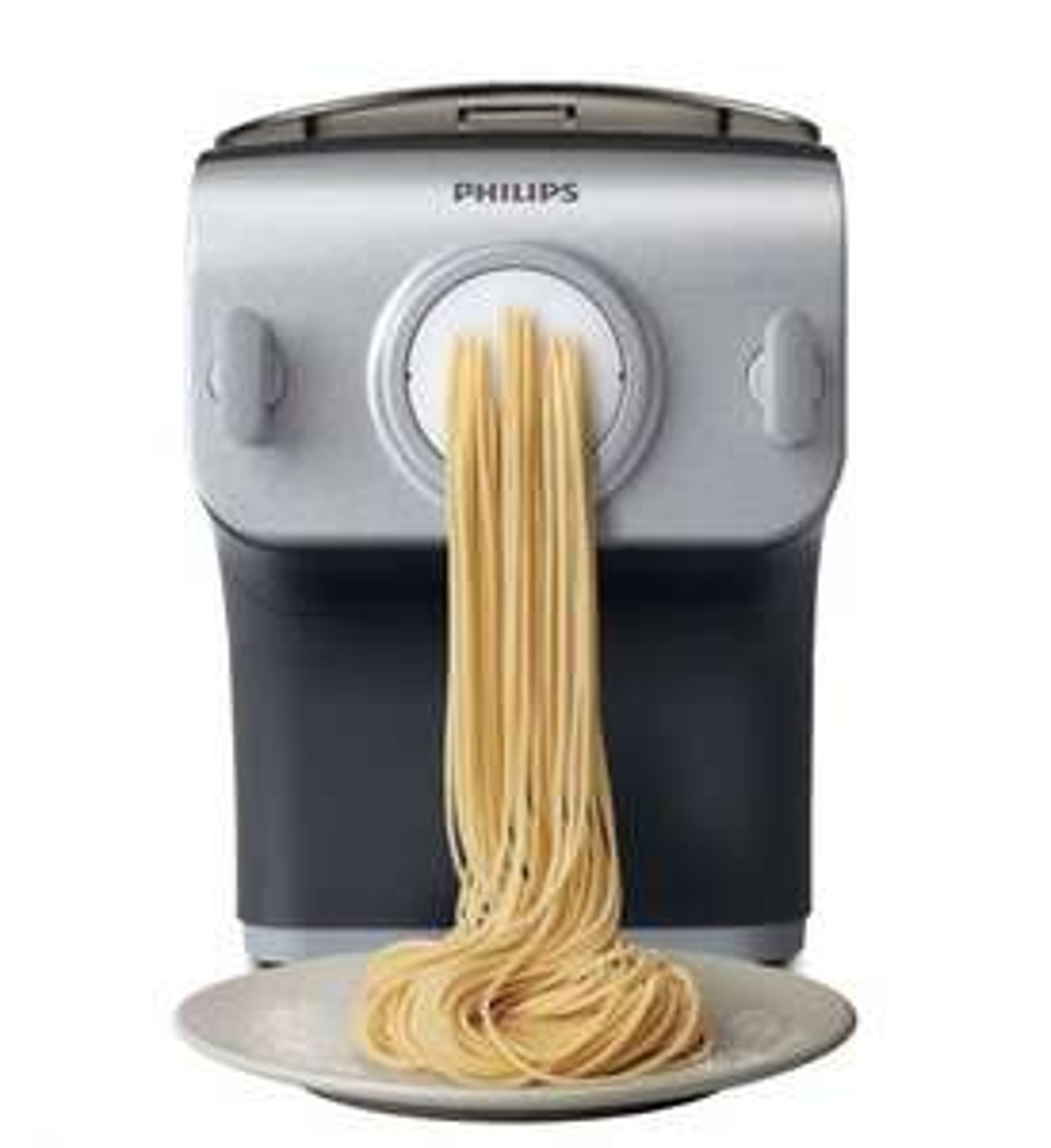 Philips HR2358/12 Pasta-Maker (200 W, vollautomatische Nudelmaschine, mit Wiegefunktion und 8 Formscheiben) grau/silber