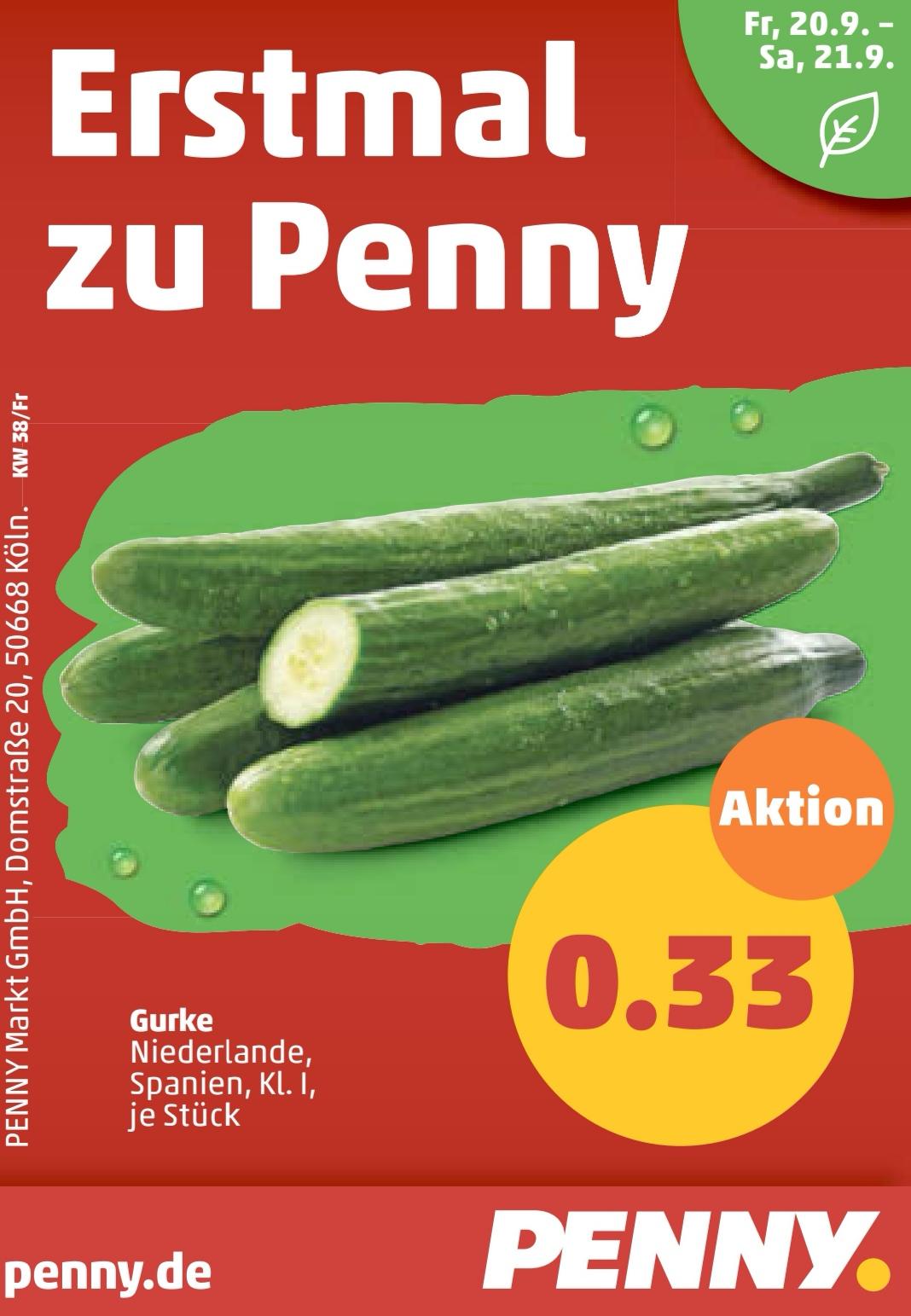 [PENNY Bundesweit] 1 Gurke 33 Cent
