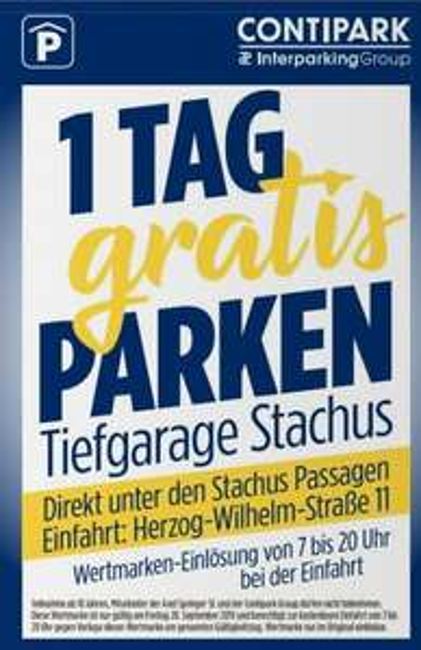 [ München ] Heute bis 23.59 Uhr gratis in der CONTIPARK Tiefgarage Stachus parken dank Bild Coupon