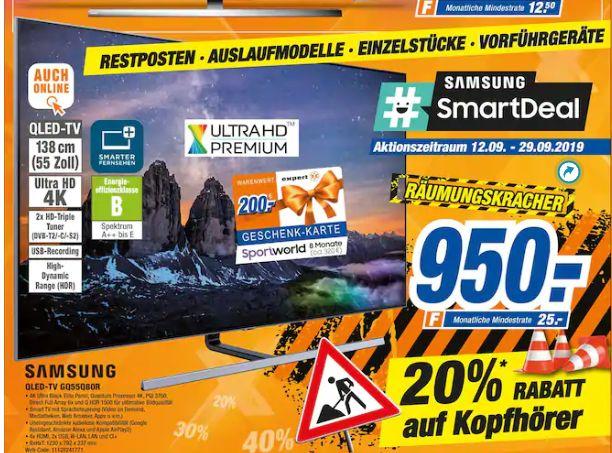 [Regional Expert Heinze&Bolek in Coburg] SAMSUNG GQ55Q80RGTXZG QLED TV (Flat, 55 Zoll/138 cm, QLED 4K, SMART TV) für 750,-€