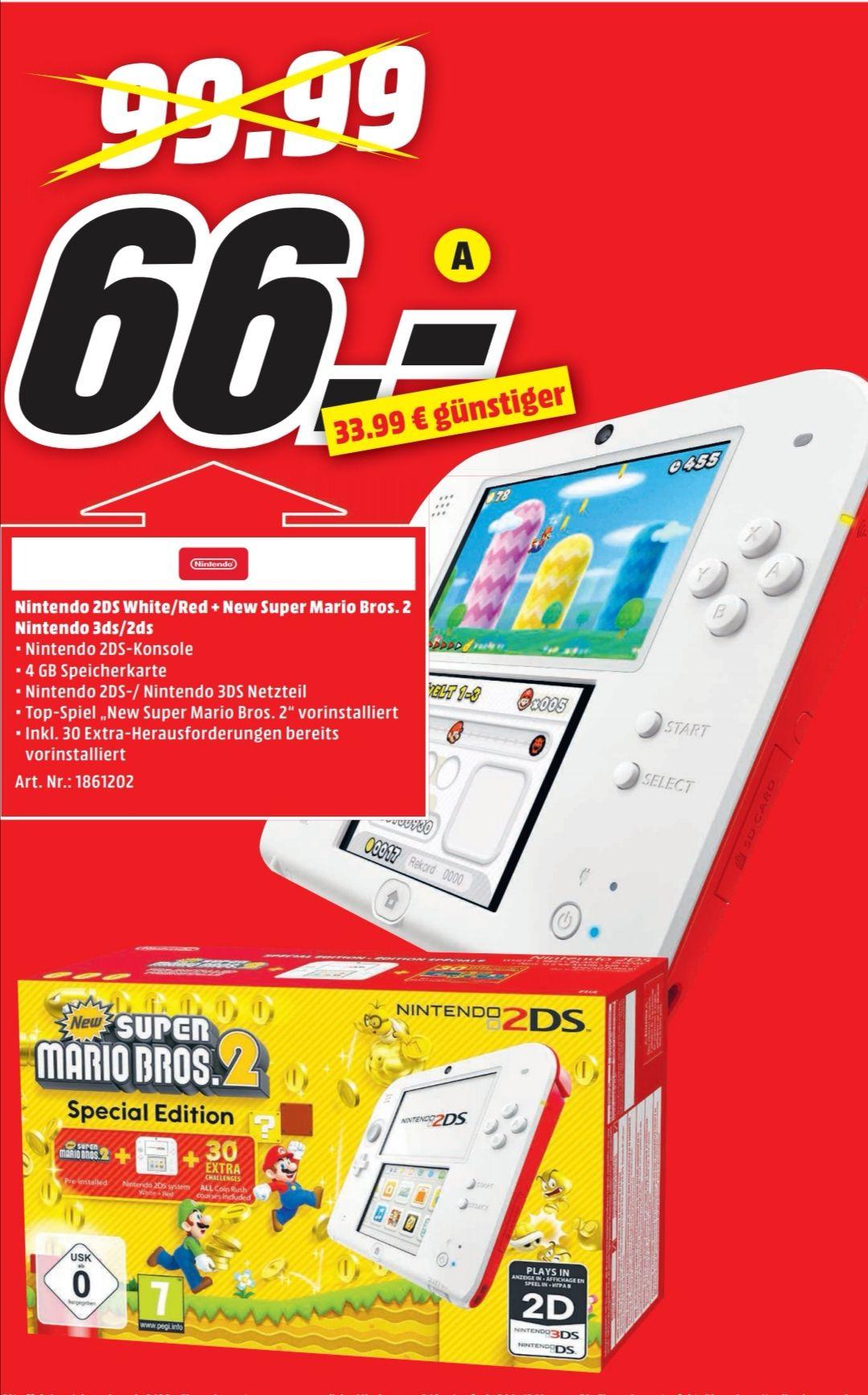 [Lokal Media Markt Weiterstadt]Nintendo 2DS + New Super Mario Bros 2 für 66€