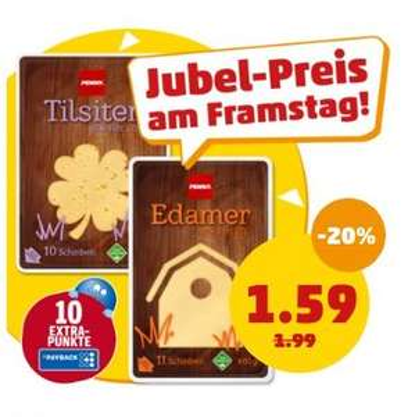 Penny: Tilsiter/Edamer 400g Packung Käse für nur 1,59€ heute und morgen + Payback Extra Punkte