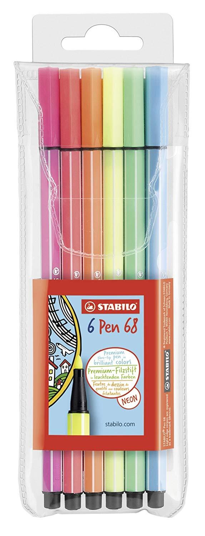 STABILO Premium Fasermaler Pen 68 Neonfarben 6er-Kunststoffetui für 4,29€ (Müller)