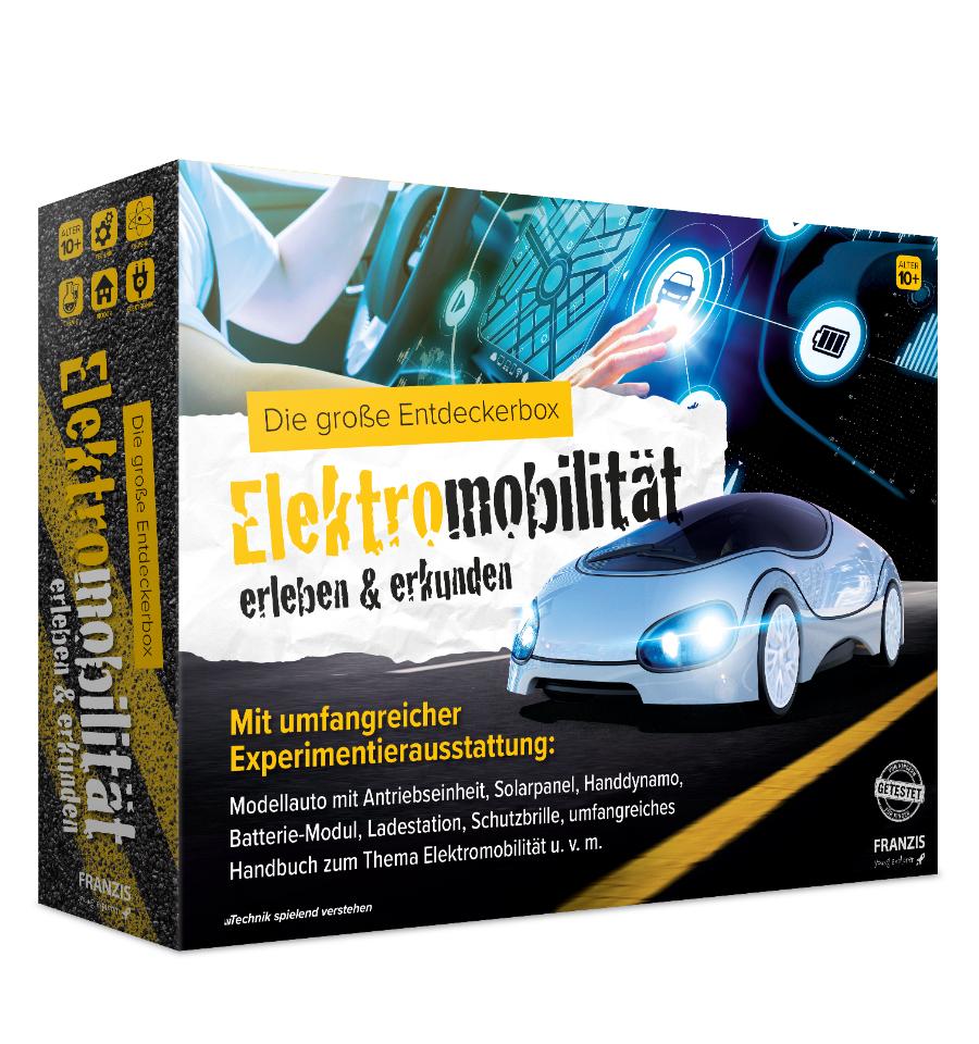 Franzis Entdeckerbox: Elektromobilität erleben & erkunden (E-Auto-Modell, Ladestation, Solarpanel, Handdynamo, galvanische Zelle, Handbuch)