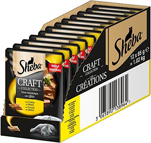 ( Amazon Plus ) 12x Sheba Craft Collection – Nassfutter für Katzen – Edle Kollektion aus Häppchen mit Sauce – Im Portionsbeutel