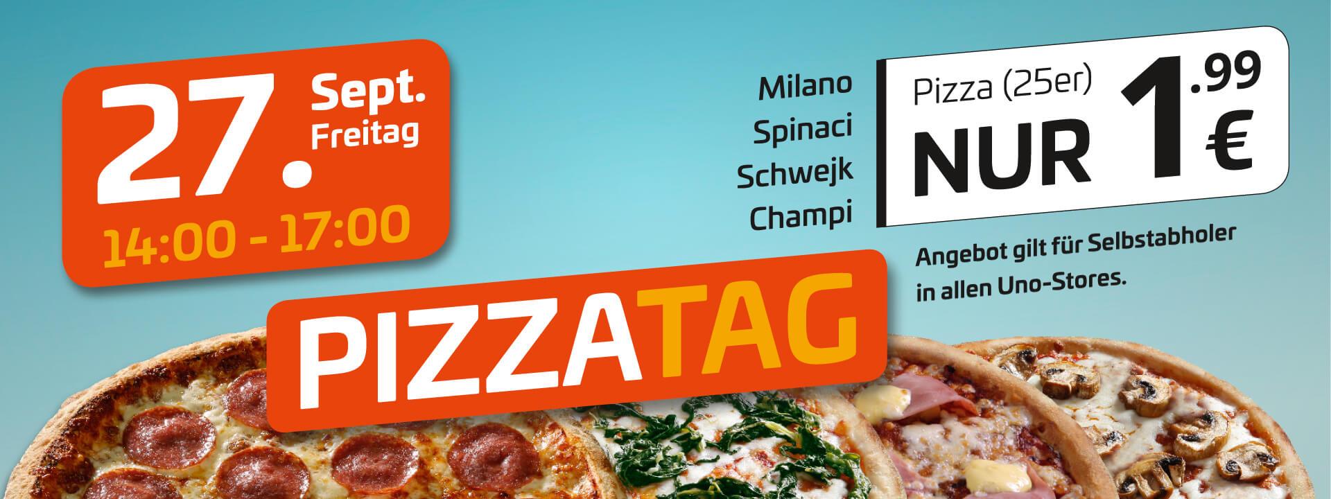 [lokal Magdeburg, Halle, Leipzig, Merseburg] uno Pizza Milano, Spinaci, Schwejk, Champi (25 cm) am Freitag, 27.9. von 14-17 Uhr je 1,99 €