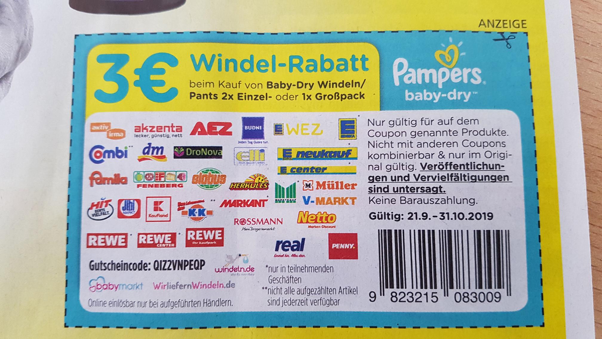 Pampers baby-dry Windel-Rabatt 3€ aus EinkaufAktuell