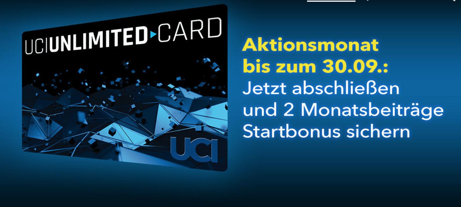 UCI Unlimited Card mit 2 Monatsbeiträgen als Startbonus!