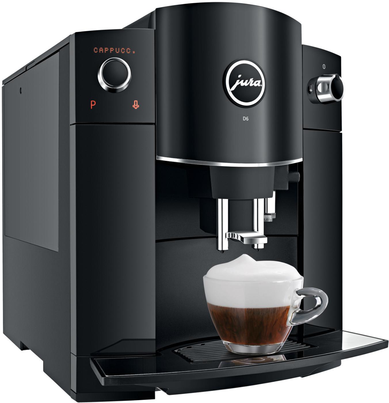 Kaffeevollautomat Jura D6 Piano Black (15bar, 1.9l mit Filter, 200g Bohnenbehälter, Milchsystem, Display)