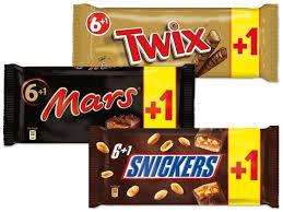 Snickers, Twix oder Mars 7er-Packung (6+1) für 1,39 Euro / Toffifee (4+1) 5x125g = 625g für 4,44 Euro [Real]