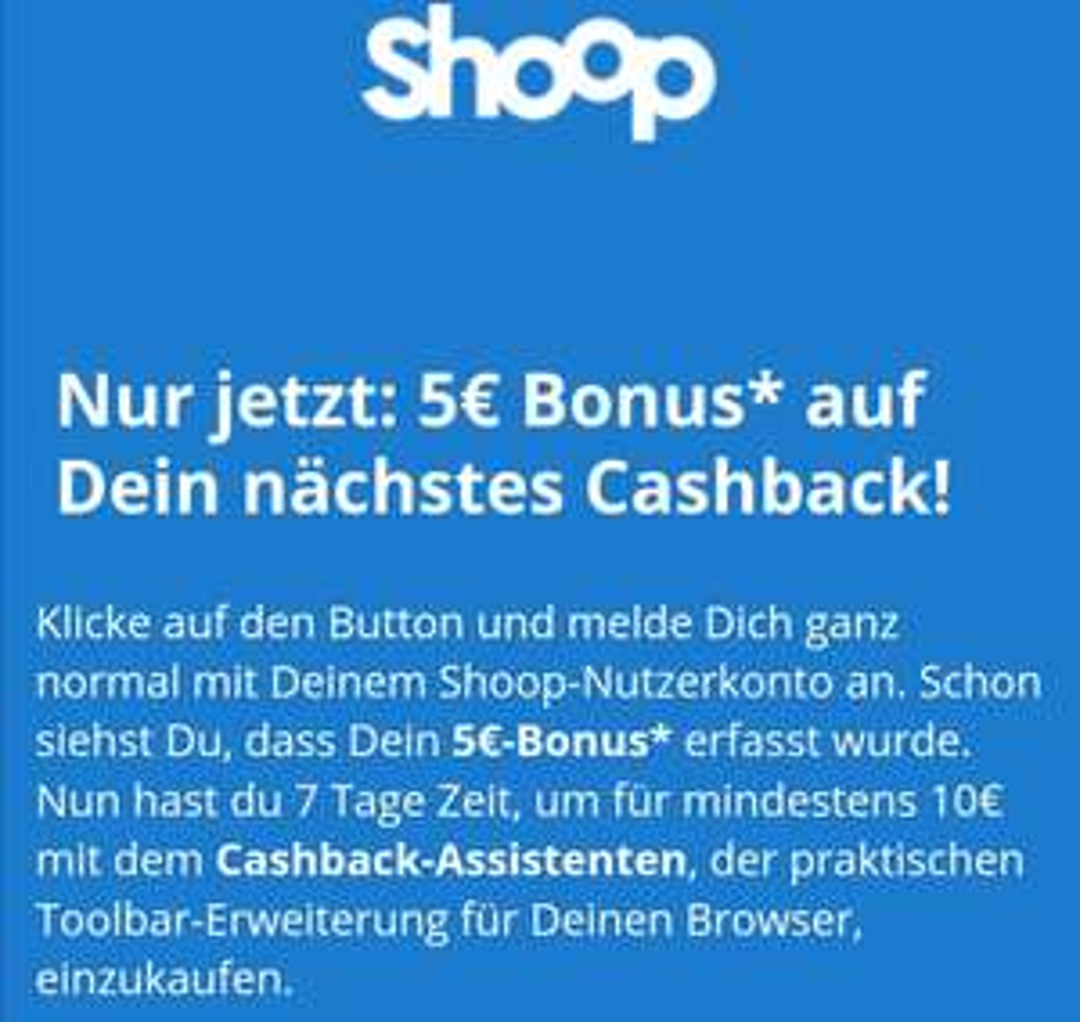 Shoop Toolbar 5 Euro Cashback für einen Einkauf ab 10 Euro