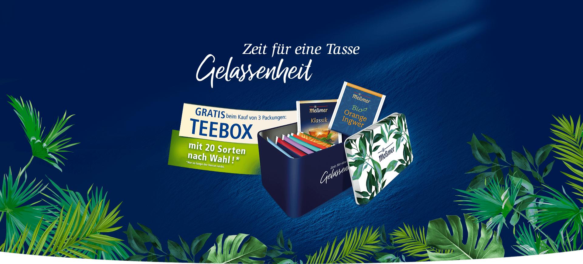 GRATIS  Messmer Teebox mit 20 freiwählbaren Teebeuteln  beim Kauf von 3 Packungen Messmer Tee