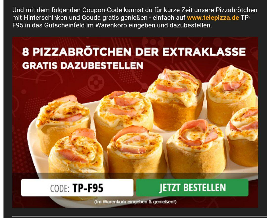 """Telepizza - """"Pizza -brötchen mit Gouda gefüllt"""" im Wert von 3,95€ zur Bestellung dazu (7,50 € MBW)"""