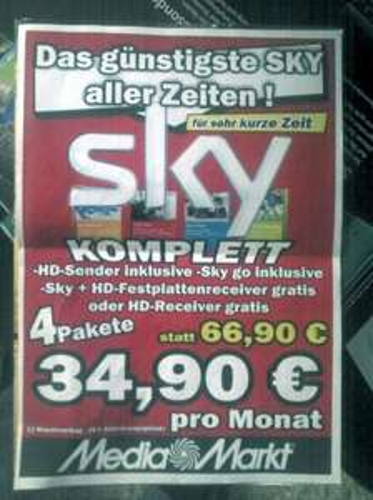[Lokal] Sky komplett 34,90 incl. HD - MM Bad Kreuznach