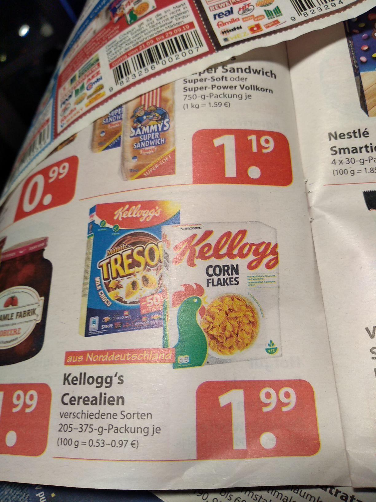 Kellogg's Cerealien: Cornflakes, Tresor usw  - Famila