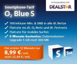 O2 Blue S für 8,99€ pro Monat im ersten Jahr