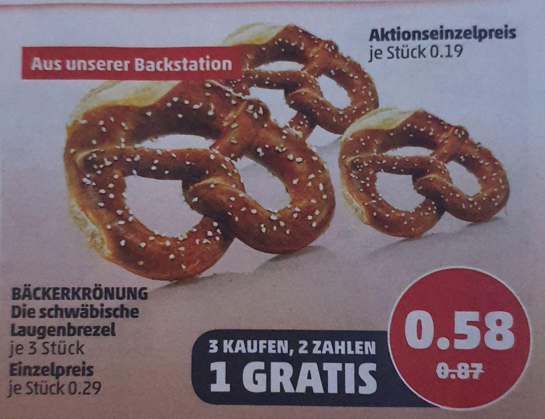 3x Laugenbrezel für 0,58€ [Penny Markt ab 23.09.]