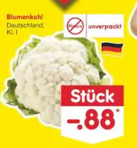 Netto Bundesweit Samstagskracher Blumenkohl (Unverpackt) 70 Cent Stat 88 Cent Coupon Kombination.