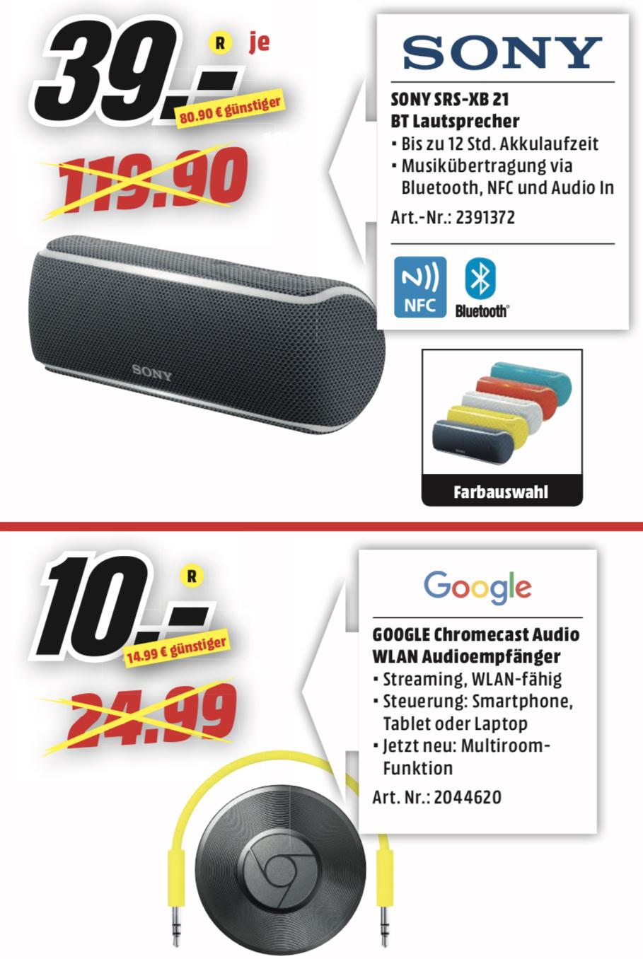 Lokal MediaMarkt Neunkirchen: Google Chromecast Audio Streaming Box für 10€ / Sony SRS-XB21 Bluetooth-Lautsprecher für 39€
