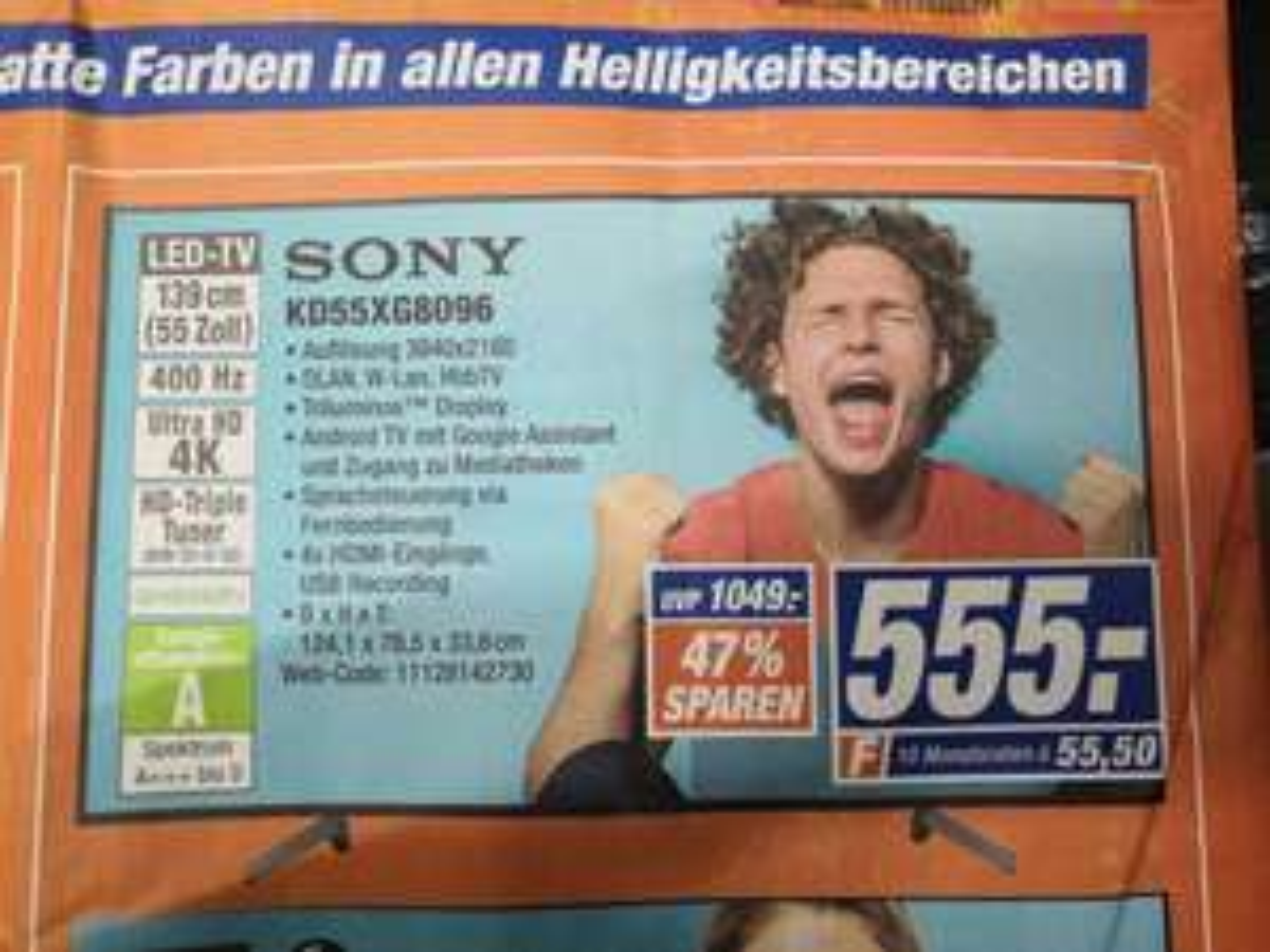 Sony KD55XG8096 4K Ultra HD TV (Smart TV, 4K, HDR, USB-Aufnahme, Google Assistent, Alexa)