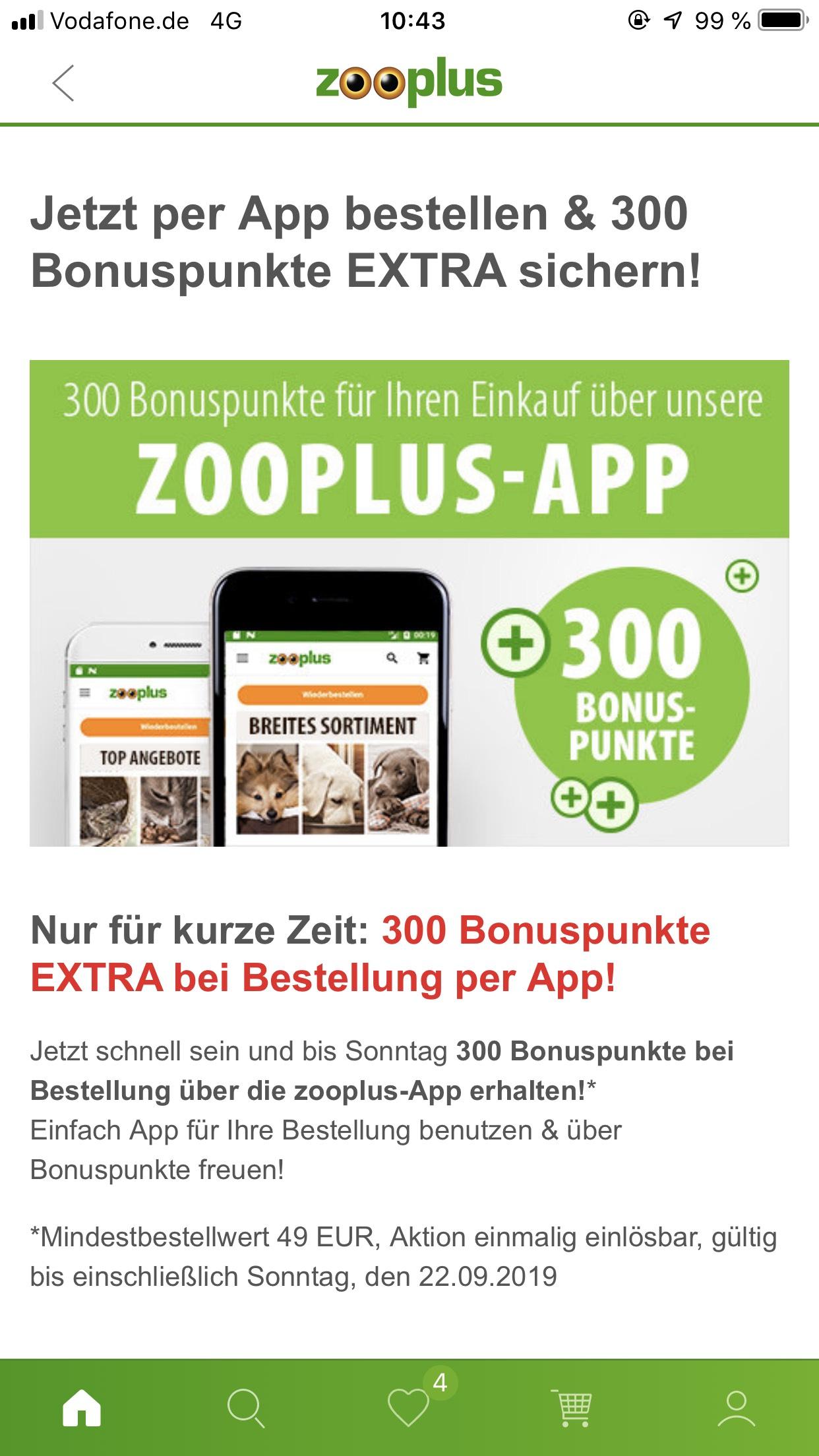 [Zooplus-App] 300 extra Punkte ab einem Bestellwert von 49€