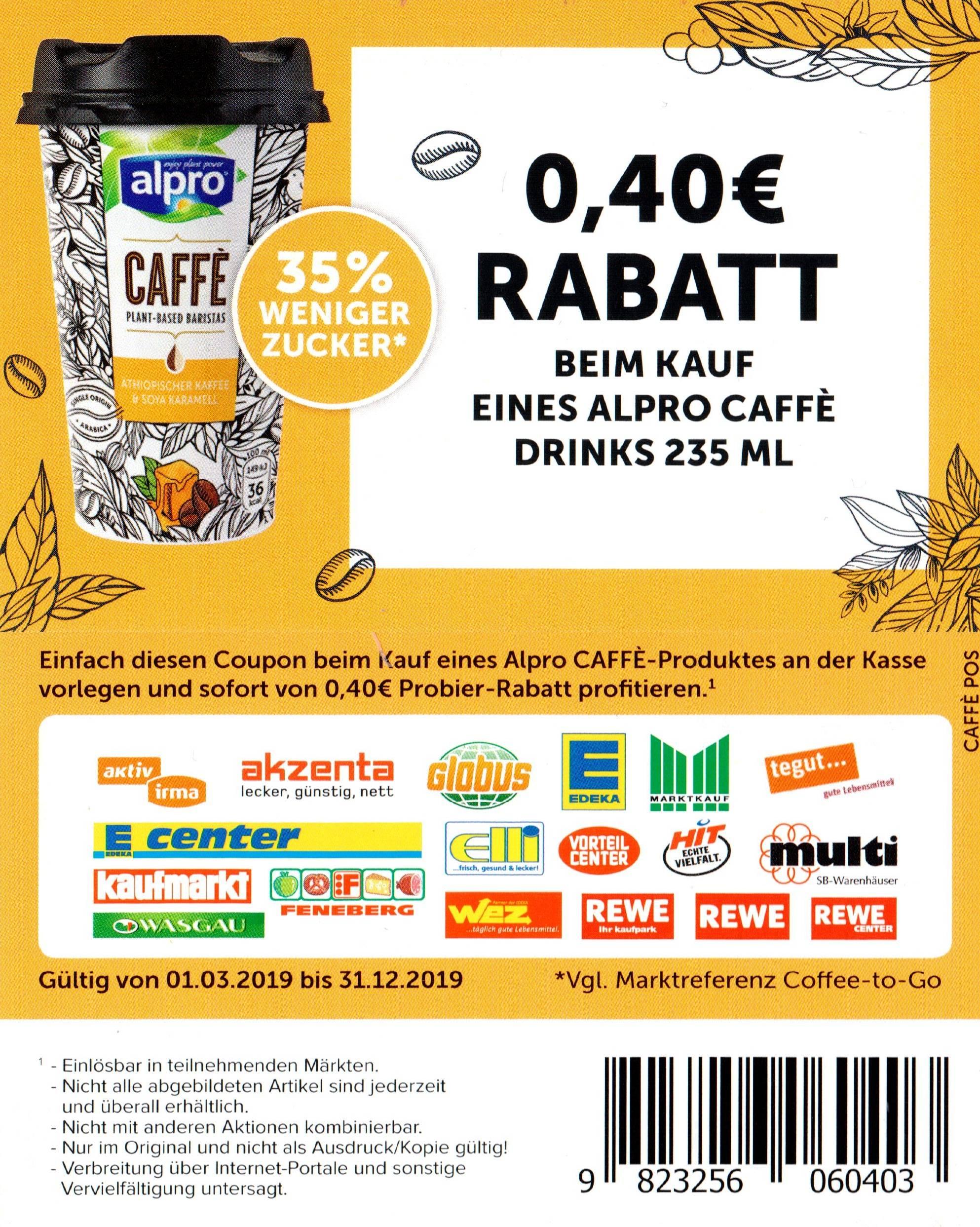 0,40€ Rabatt Coupon für den Kauf eines alpro Caffé Drinks 235ml bis zum 31.12.2019