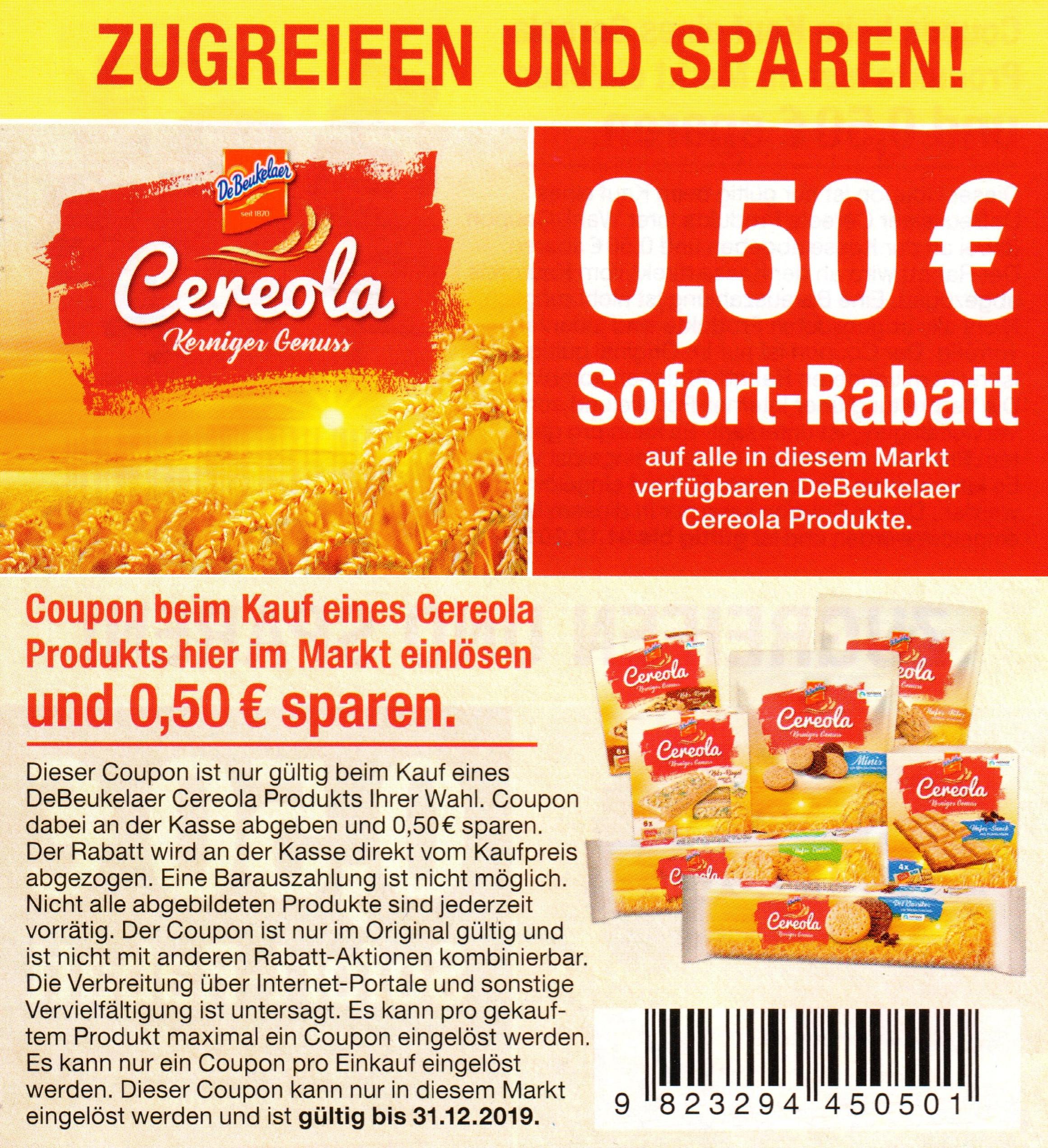 0,50€ Rabatt Coupon für den Kauf eines DeBeukelaer Cereola Produktes bis 31.12.2019