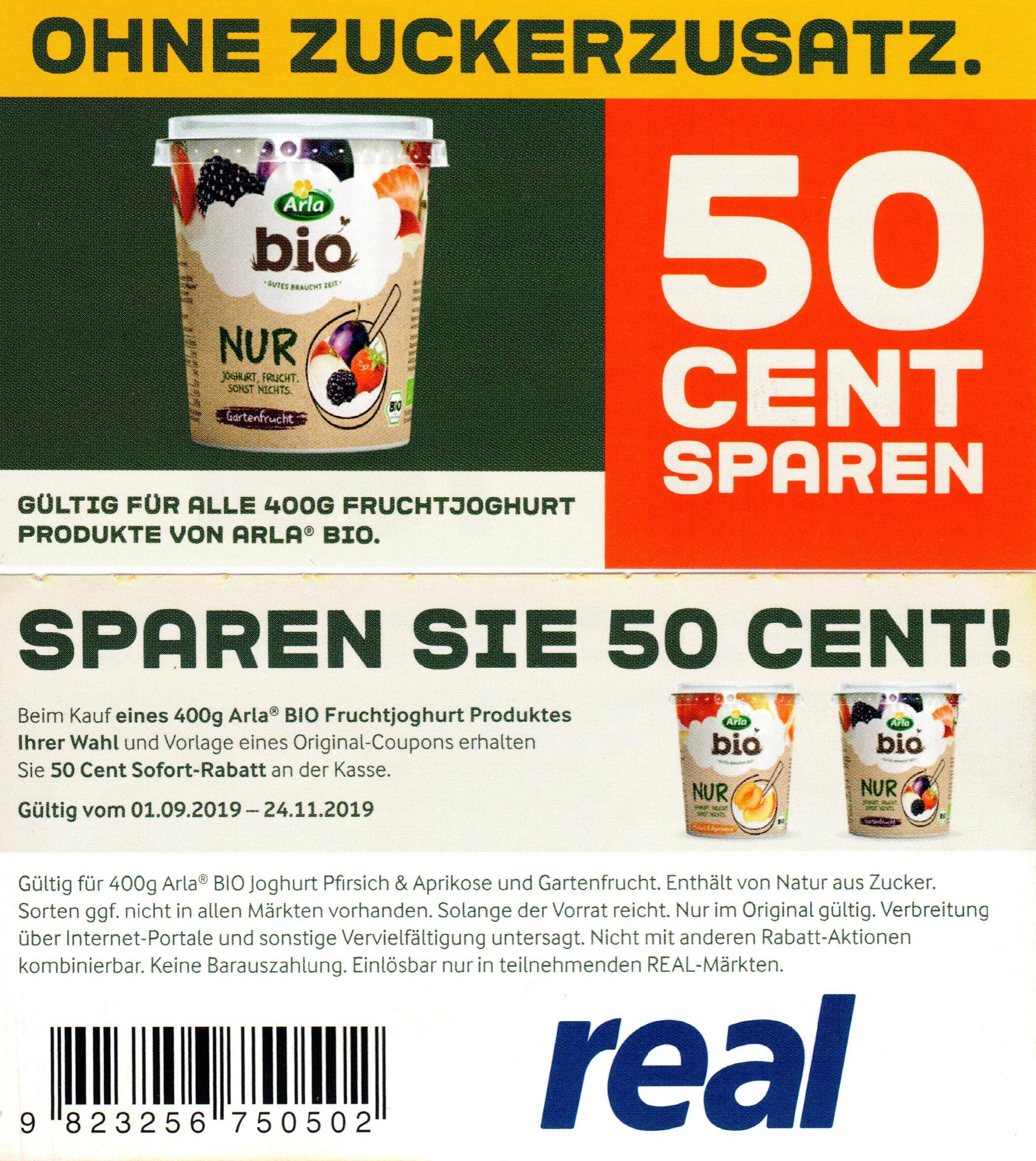 0,50€ Rabatt Coupon für Arla Bio Fruchtjoghurt 400g bis 24.11.2019 [REAL]