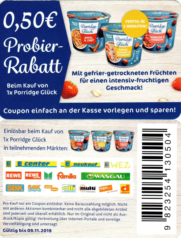 0,50€ Rabatt Coupon für den Kauf von 1x Porridge Glück bis 09.11.2019
