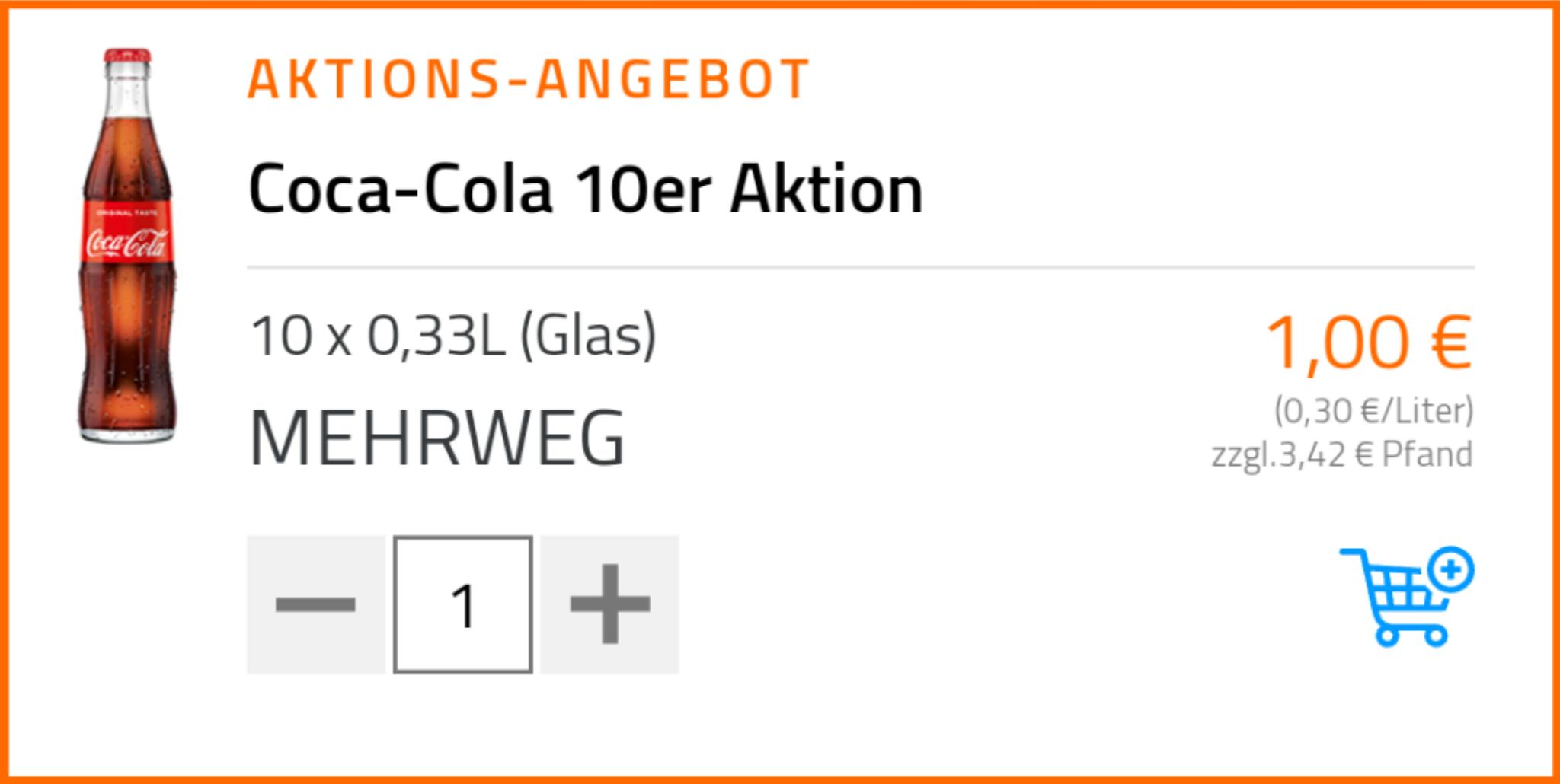 Flaschenpost Dresden (lokal) - 10er Kasten Cola 0,33L für 1€ - 15€ MBW