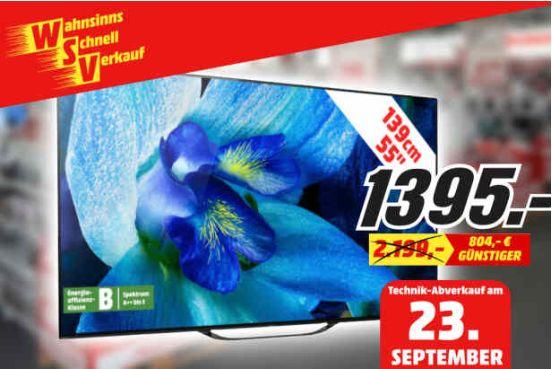 [Regional Mediamarkt Bremen ab 23.09] Sony KD-55AG8 OLED 4K HDR TV 55 Zoll (Modell 2019) für 1395,-€