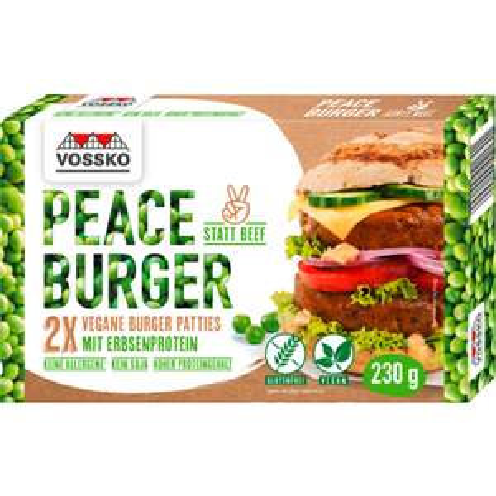 Vossko -Peace Burger- vegan ¦ 2 Stück / 230g bei [Penny & Rewe] ab 23.09. / bei Rewe ebenfalls Rice Nuggets