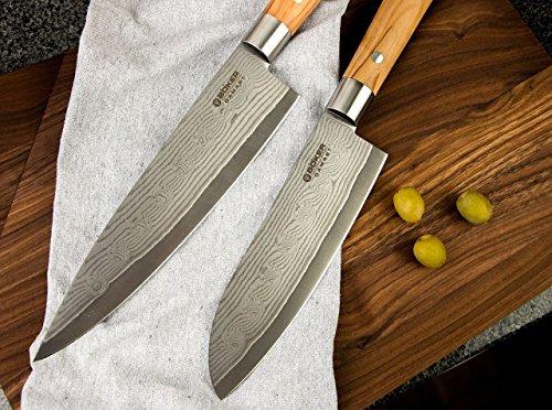 Böker Damast Olive Geschenkset Kochmesser