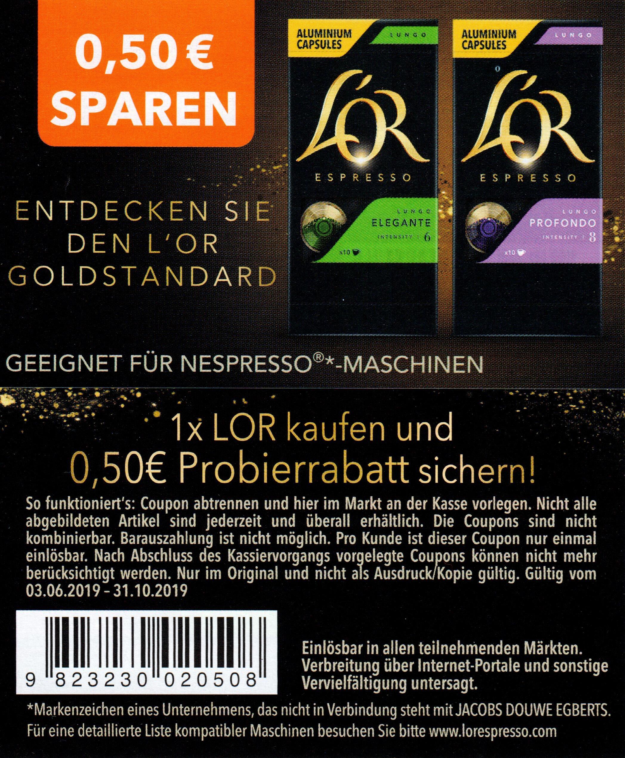 0,50€ Rabatt Coupon für den Kauf einer Packung LOR Kaffeekapseln bis 31.10.2019