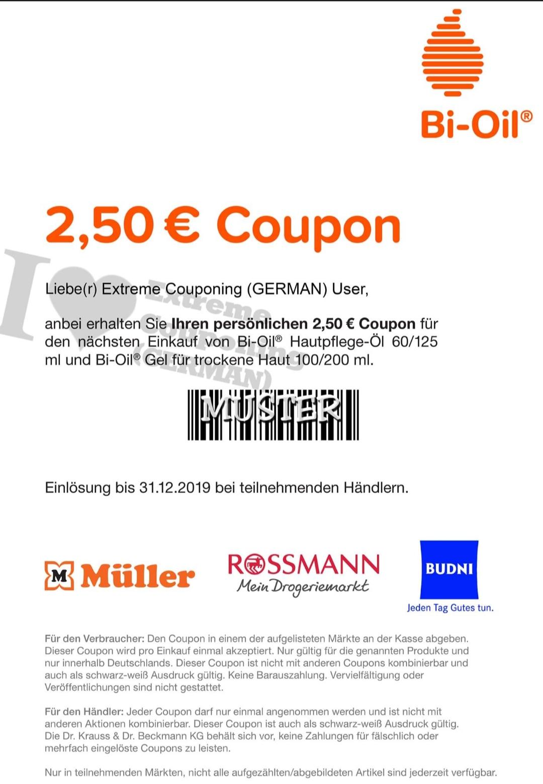 2.50 Euro Rabatt Coupon Bi-Oil