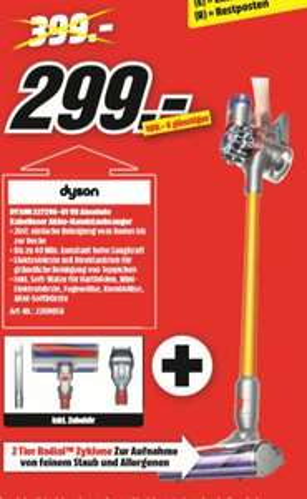 [Regional Mediamarkt Lingen nur HEUTE] DYSON 227296-01 V8 Absolute, Akkusauger mit Stiel, Stielsauger, Nickel/Gelb für 299,-€