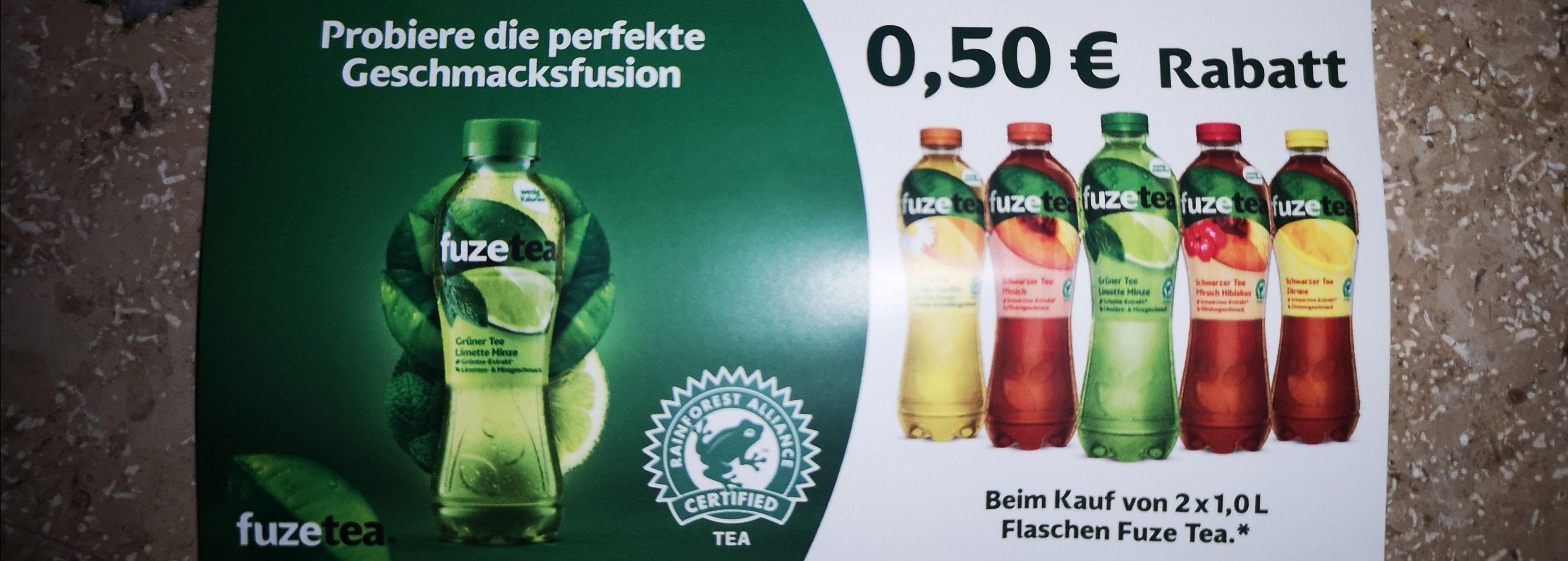 Fuze Tea: 0,50€ Rabatt auf 2x 1 Liter Flaschen
