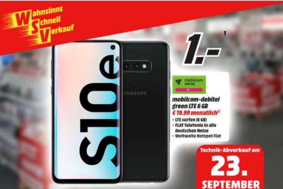 [nur am 23.09. Regional Essen Bremen Weserpark, Waterfront, Delmenhorst, Stuhr] Samsung Galaxy S10e im Debitel Telekom (6GB LTE) mtl. 19,99€