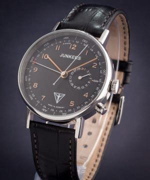 JUNKERS Uhr Eisvogel F13 6734-5 Herren Armbanduhr mit Kalender Lederband schwarz incl. Versand