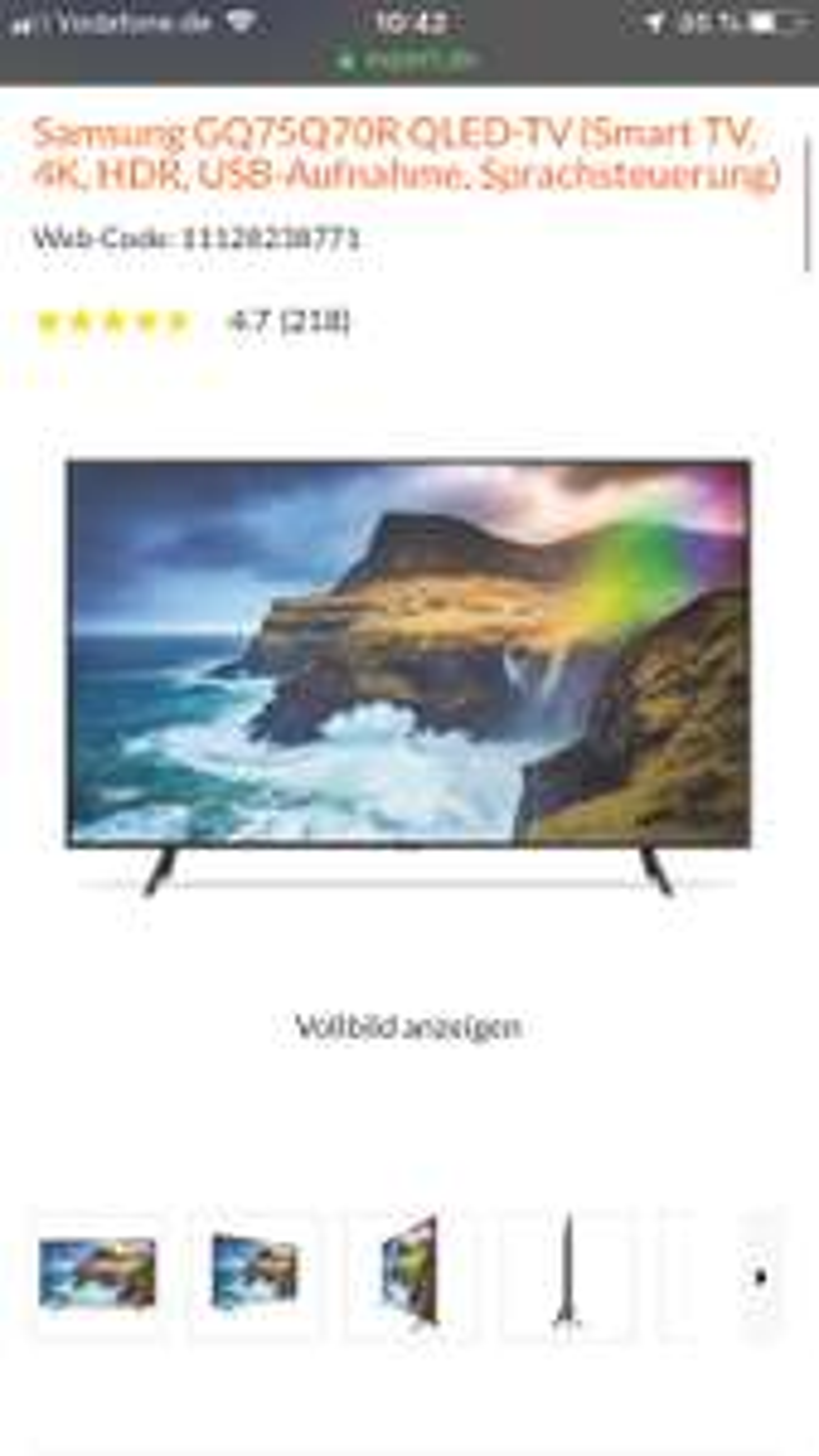 Samsung GQ75Q70R QLED-TV (Smart TV, 4K, HDR, USB-Aufnahme, Sprachsteuerung)