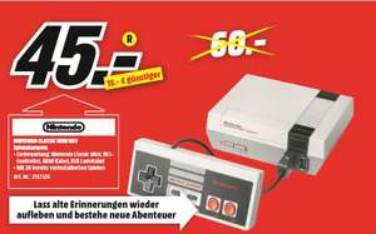 [Regional Mediamarkt Mönchengladbach ab 23.09] Nintendo Classic Mini NES für 45,-€
