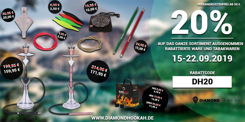 DiamondHookah 20% Rabatt auf das gesamte Sortiment