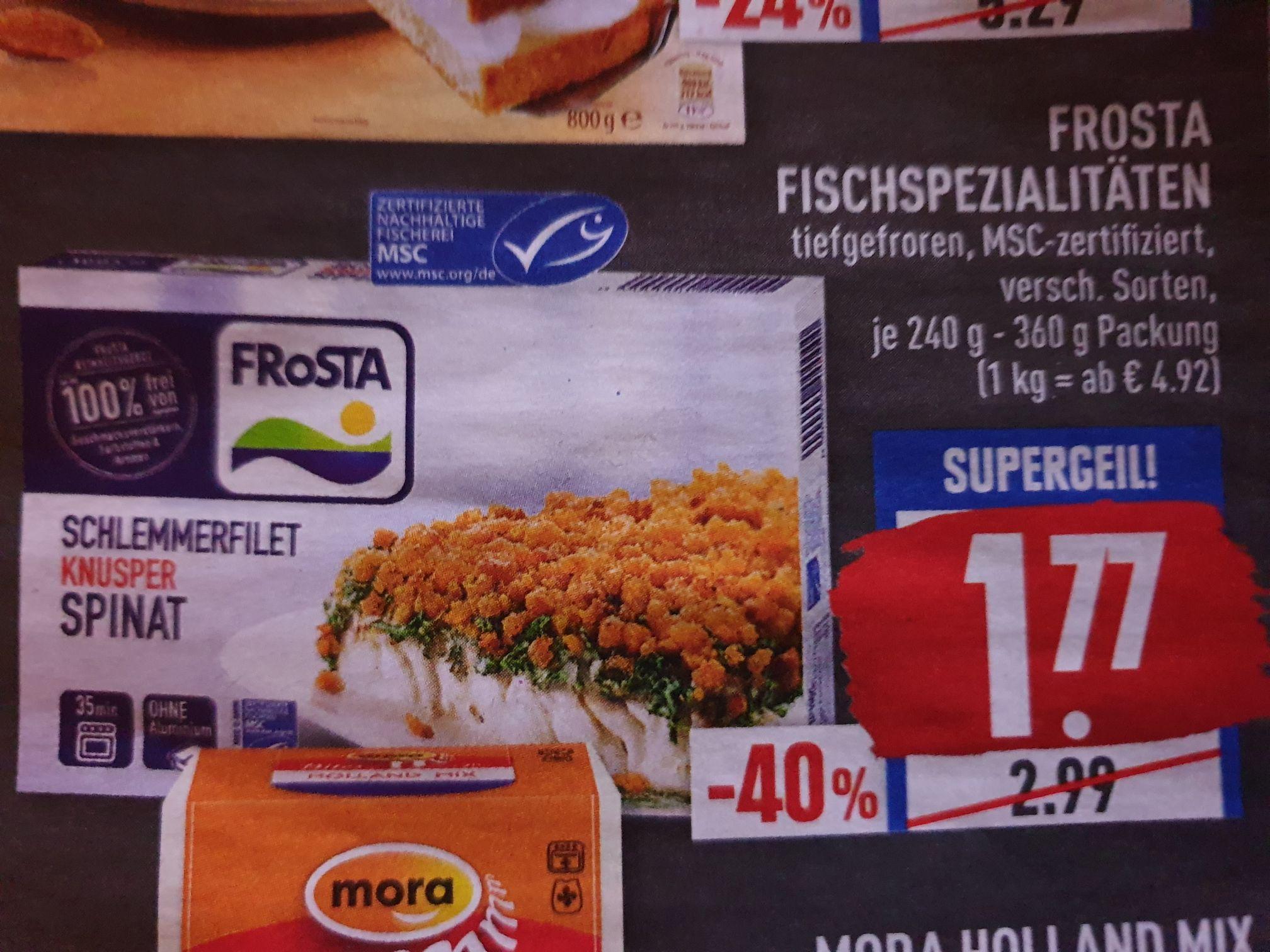 Frosta Fischspezialitäten, z.Bsp. Schlemmerfilet + weitere Sorten für 1,77€ ( Marktkauf +evtl. Edeka)