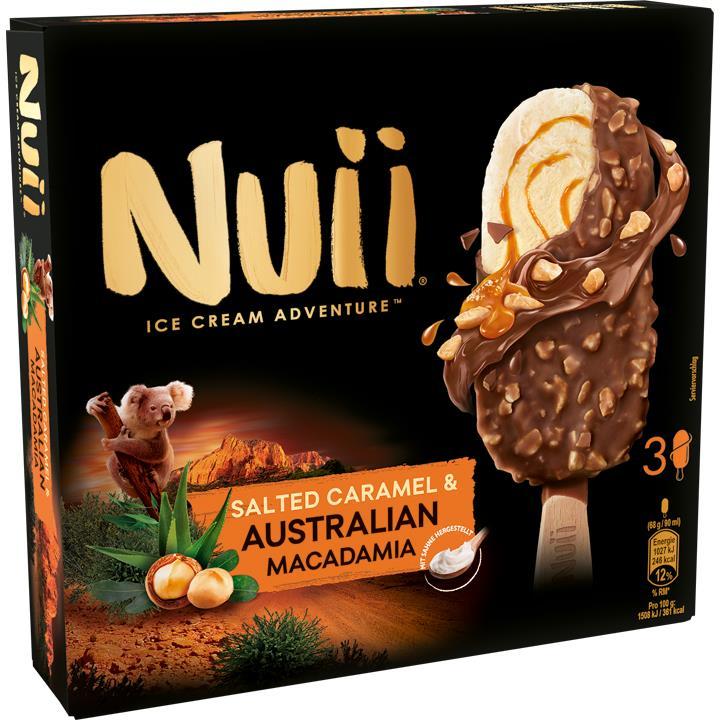 Nuii - Eis am Stiel (u.a. Salted Caramel & Macadamia) ¦ 3 Stück / 270ml ¦ bei [Kaufland] ab 26.09.