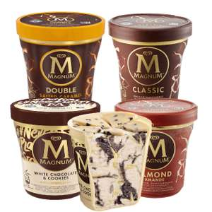 Magnum Eis-Becher in Double Salted Caramel, White Chocolate&Cookies, Classic oder Mandel