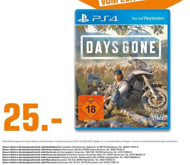 [Regional Saturn Mannheim/Karlsruhe,Kaiserslautern,Pforzheim/Heidelberg/Ludwigshafen] Days Gone (PS4) für 25,-€