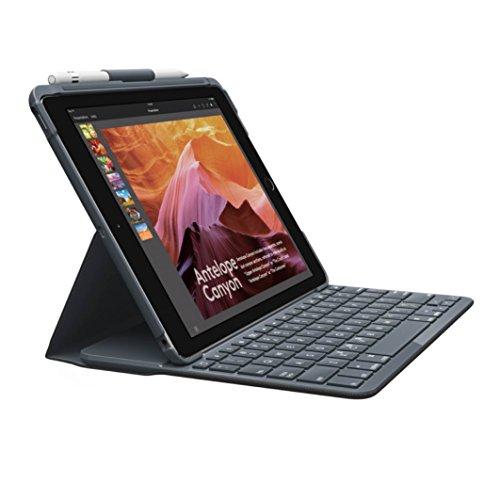 Logitech Slim Folio iPad Tasche (Bluetooth-Tastatur, passend für iPad 5th / 6th Generation, QWERTZ, Stifthalterung)