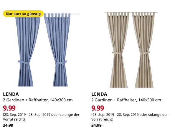 (IKEA Bremerhaven) LENDA 2 Gardinen + Raffhalter, leuchtend blau oder hellbeige 140x300 cm